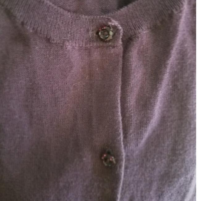 Ann Taylor LOFT Cardigan Jewel Buttons Lightweight Button Down Shirt Purple/eggplant