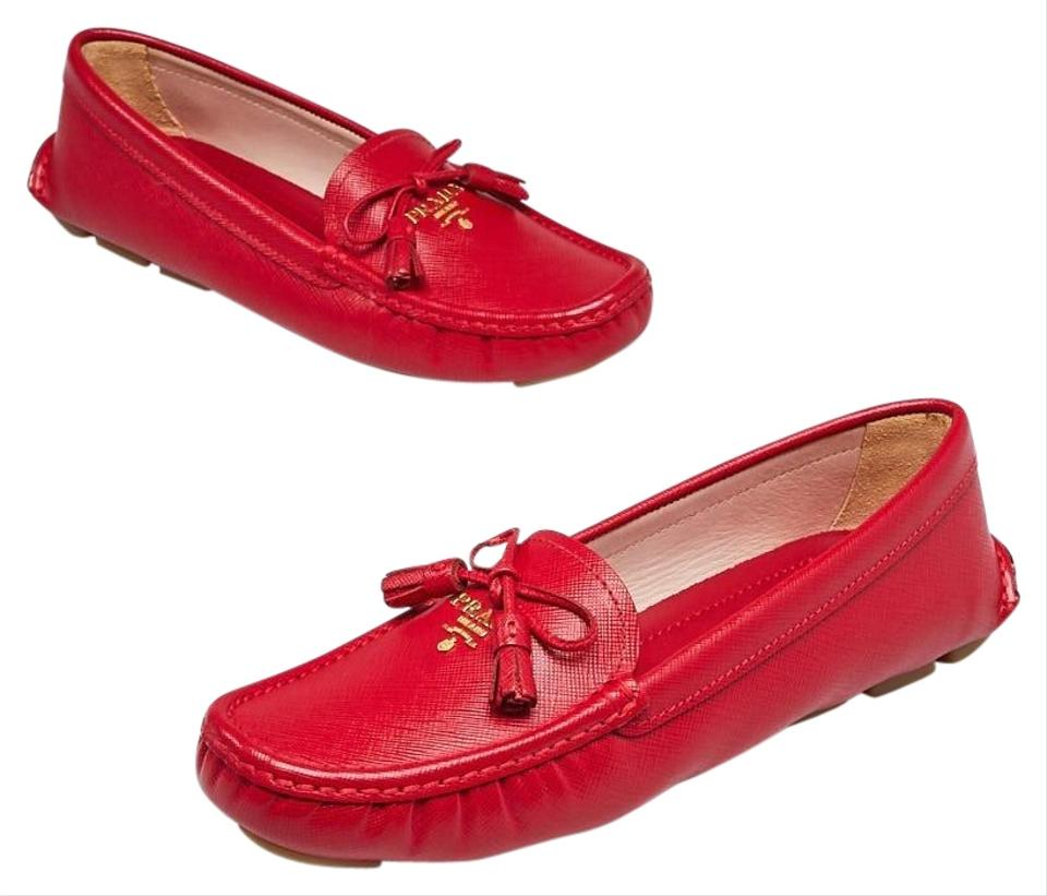 3a8446603f1 Prada Red Saffiano Leather Driving Loafers 7 37.5 Flats Size EU 37.5 ...