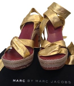 Marc by Marc Jacobs Gold Sandals Multi/Gold Wedges