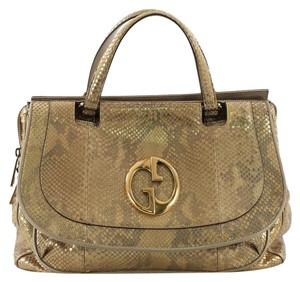 Gucci Python Satchel in gold