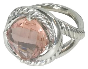 David Yurman David Yurman Sterling Silver Infinity Ring. 11mm Morganite, size 6.5