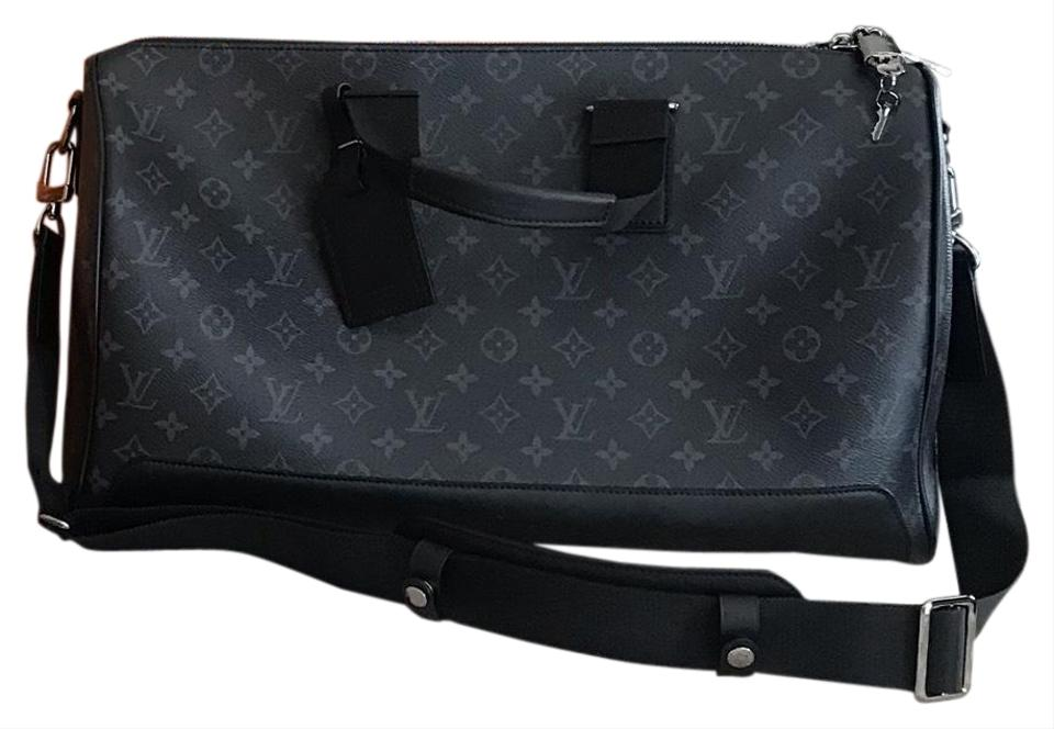 de96e2f79 Louis Vuitton Keepall Rare Runway Edition Voyager 45 Bandouliere Monogram  Eclipse Grey Leather Weekend/Travel Bag