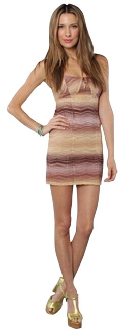 Item - Brown/Tan Cut Back Body Short Night Out Dress Size 12 (L)