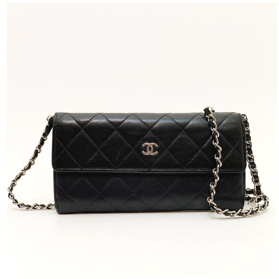3d35835abfa1 Chanel Classic Flap Wallet with Chain Added Black Lambskin Leather ...