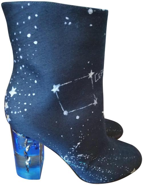 Item - Blue White Caravani Print Translucent Heel Ankle Boots/Booties Size EU 35.5 (Approx. US 5.5) Regular (M, B)