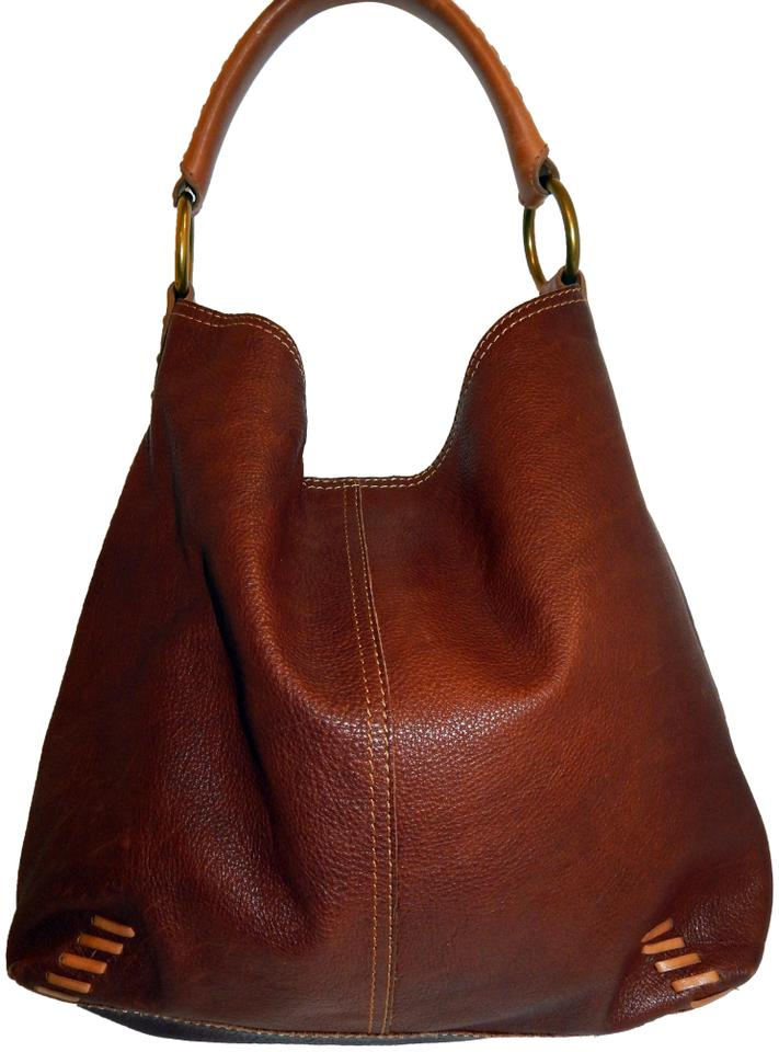 63b9b75faf Lucky Brand Whipstitch Shoulder Brown Leather Hobo Bag - Tradesy