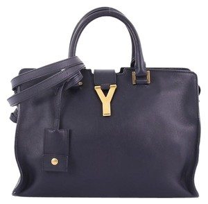 Saint Laurent Leather Tote in navy