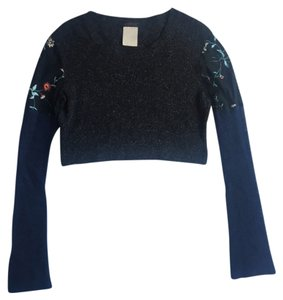 Custo Barcelona Longsleeve Sheer Embroidered Floral Print Wool Sweater