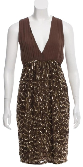 Item - Brown with Gold Sequin Millie V-neck Mid-length Cocktail Dress Size 0 (XS)