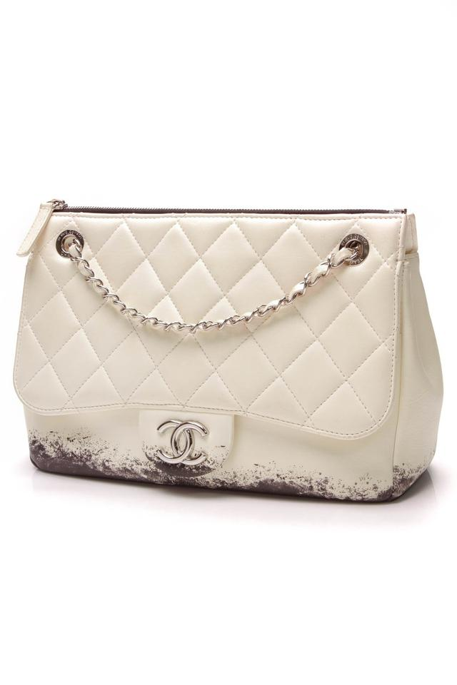 6d5c552a901396 Chanel Classic Flap Blizzard Zip Top Jumbo Beige Lambskin Leather ...