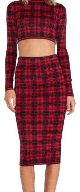 Item - Red and Black London Plaid Two Piece Mid-length Night Out Dress Size 4 (S)