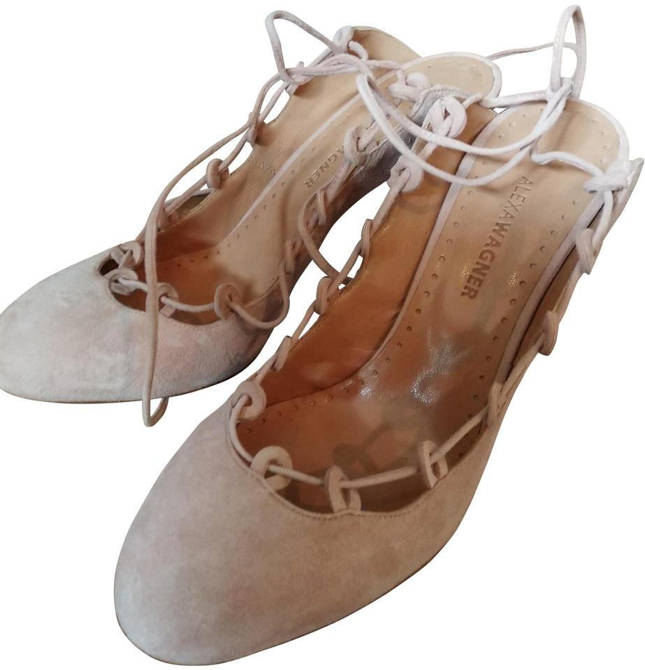 a867cf071c27 Alexa Wagner Flesh Chanel Marcelle Laced Open Back Sandals Size EU ...