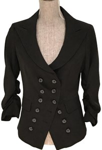Laundry by Shelli Segal Laundry Black Double-Breasted, Ruched Sleeves, Lightweight Jacket (S)