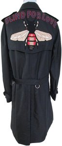 Gucci Embroidered Logo Double Breasted Trench Coat