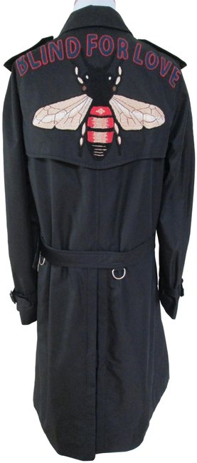Gucci Black Embroidered Blind For Love Bee Double Breasted Coat Size 12 (L) Gucci Black Embroidered Blind For Love Bee Double Breasted Coat Size 12 (L) Image 1