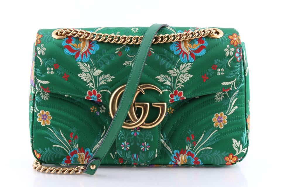 81893abcce47 Gucci GG Marmont Shoulder Floral Green Satin Cross Body Bag - Tradesy