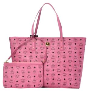 MCM Anya Large Monogram Coated Canvas Tote in Pink