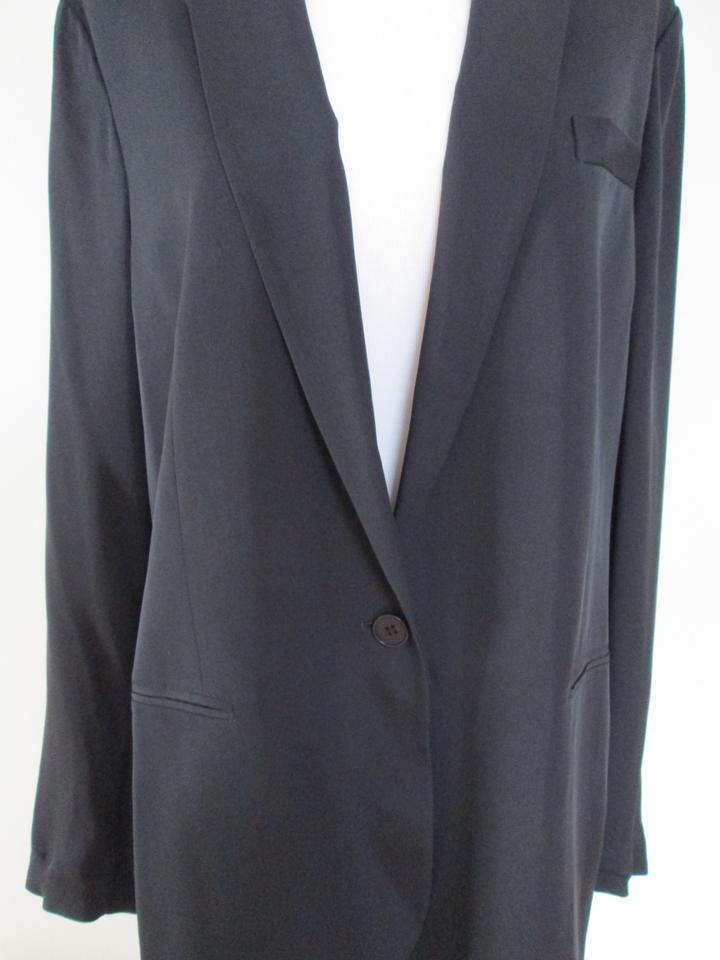 427cfa7c08 Theory Black Grinson Classic Silk One Button Jacket Blazer Size 12 (L) -  Tradesy