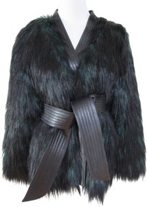 Balmain x H&M Fur Belted Green Black Leather Jacket
