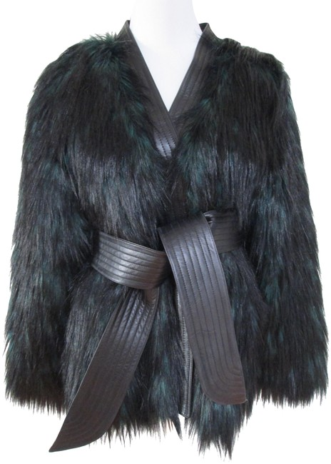 Item - Green Black Faux Fur Belted Wrap Jacket Size 10 (M)