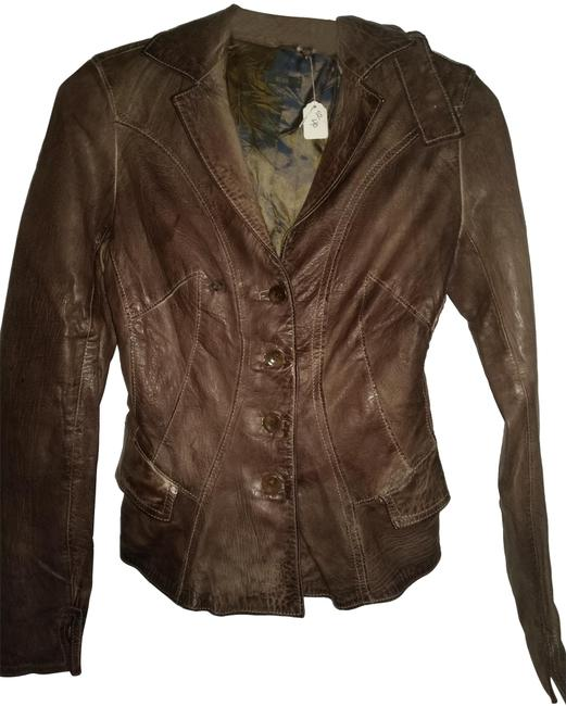 Item - Brown 40 Distressed Fitted with Stitching Jacket Size 4 (S)