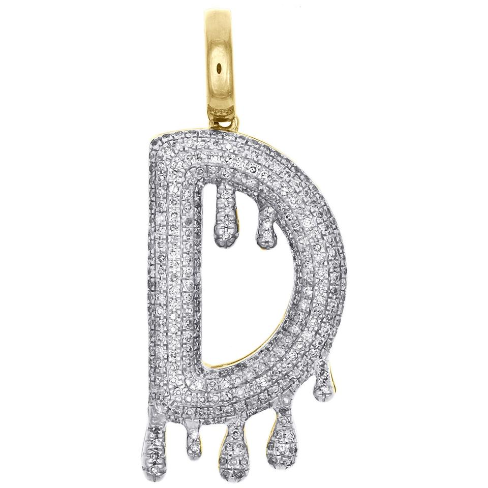 Jewelry For Less 10k Yellow Gold / White Diamond D Initial Bubble Letter  Drip Pendant 1 40