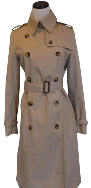 Item - Beige Khaki Double-breasted Nova Check Lined Made In Italy Coat Size 6 (S)