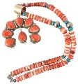 M. Spencer Native American Sterling silver spiny oyster Necklace