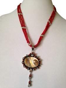 Blister Pearl, Moonstone & Red Coral Sterling Pendant & Necklace
