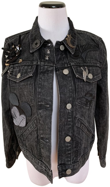 Item - Black Mickey Mouse Patch Embellished Chain Jacket Size 12 (L)