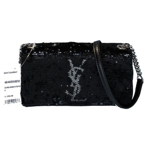 Saint Laurent Made In Italy Luxury Designer Ysl Logo Sparkle Holiday Party Cross Body Bag