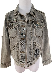 Marc Jacobs Crystal Embroidered Embellished Brooch Light Gray Womens Jean Jacket