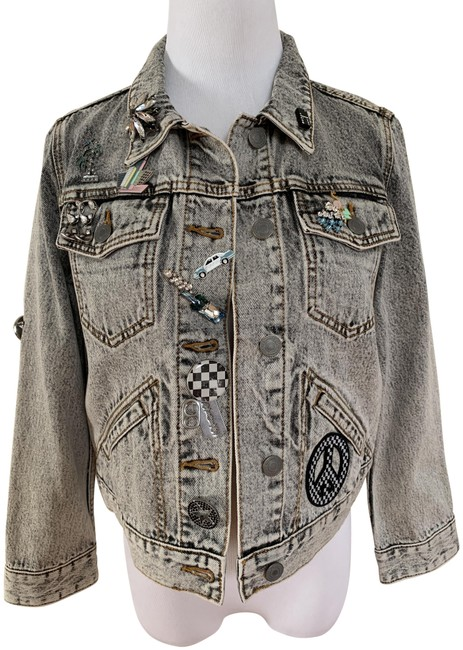Item - Light Gray Embellished Patch Pin Paradise Crystal Jacket Size 12 (L)