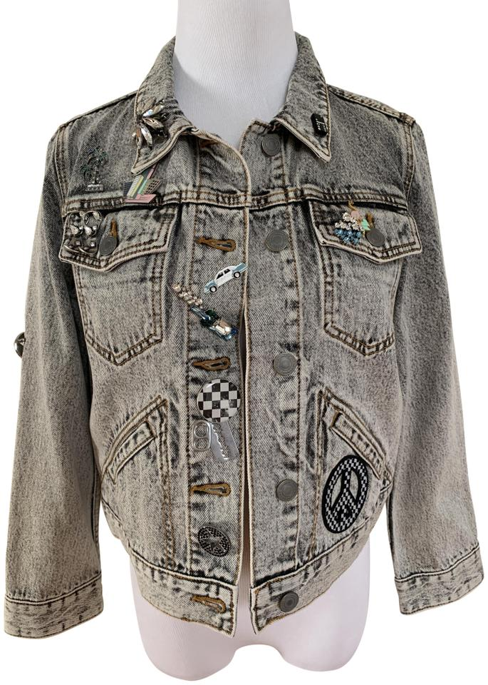 5b5f4f0e743f Marc Jacobs Crystal Embroidered Embellished Brooch Light Gray Womens Jean  Jacket Image 0 ...