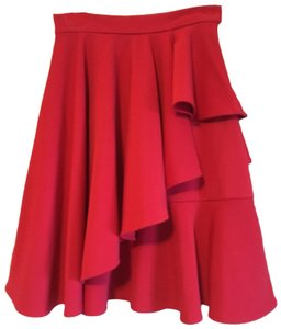 Modcloth A-line Tiered Ruffle Stretchy Pleated Skirt Red