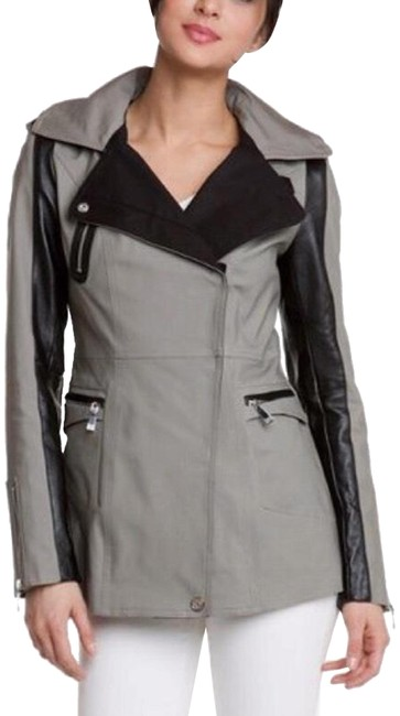 Item - Blue Grey and Black Accent With Leather Hidden Hood Coat Size 4 (S)