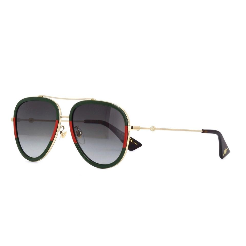 9820f1ecaceec Gucci Green Red and Gold Gg0062s Two Tone Aviator Sunglasses - Tradesy
