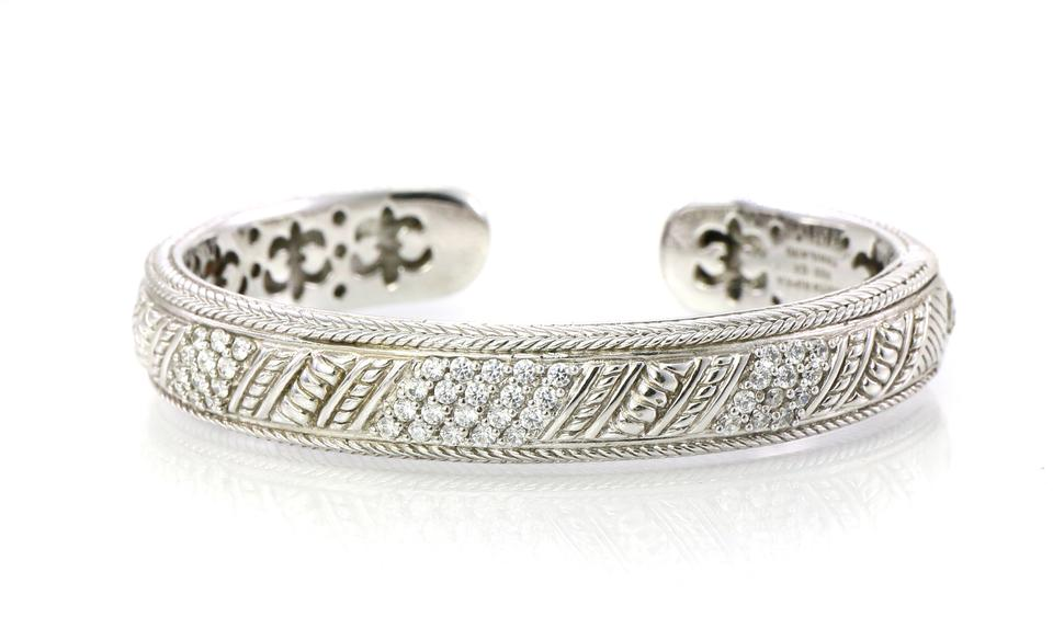 8588807f12c Judith Ripka Sterling Silver Cz Accents Open Cuff Bangle Bracelet ...