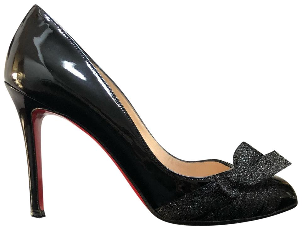 643f7ff6339e Christian Louboutin Black Pin-up 100 Patent Bow Classic Heels Pumps ...
