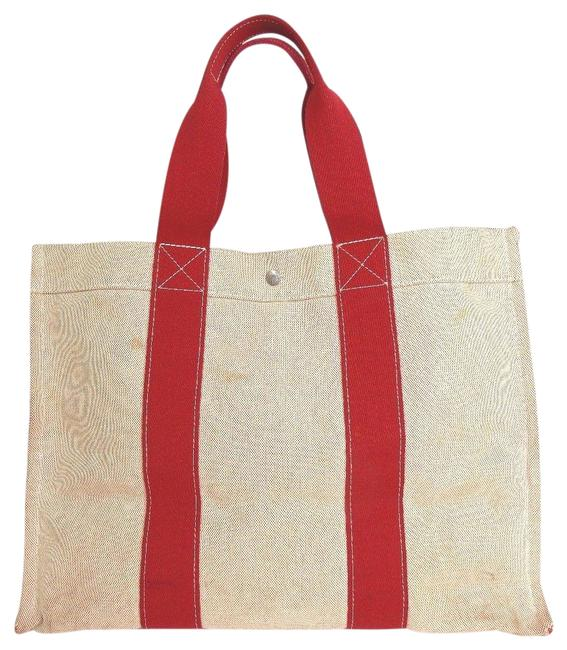 Item - Bag Bora Pm Hand France Ivory Red Cotton Tote