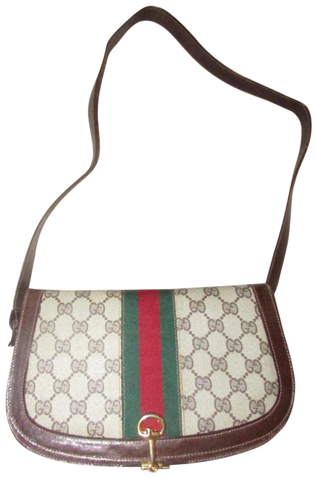 57fef177e34948 Gucci True 1960's Mod Equestrian Accents Multiple Pockets Red/Green Canvas/Leather  Shoulder Bag ...