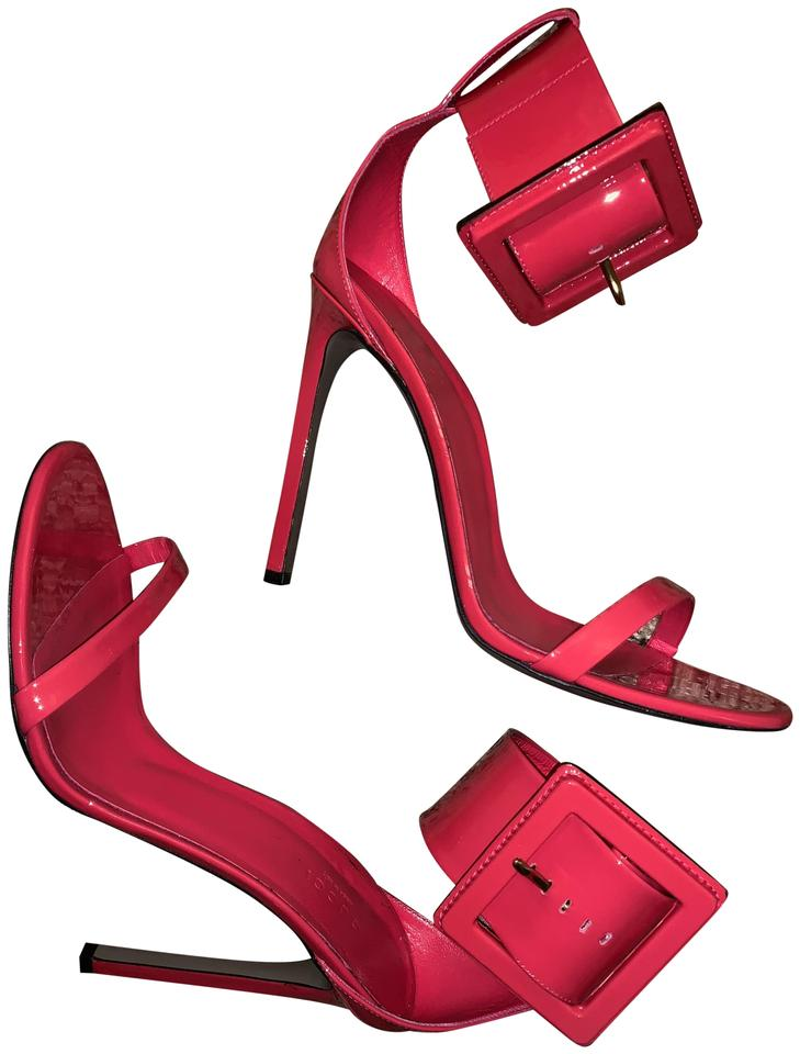 c4f9f0a91f5 Gucci Pink Victoire Fuschia Big Oversized Buckle Heels Sandals Size ...