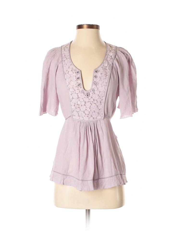 1e1460ed9f5 Rebecca Taylor Fashion Style Scoop Neckline Short Sleeve Solid Top light  purple Image 0 ...