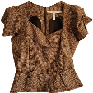 Roland Mouret Top brown and cream