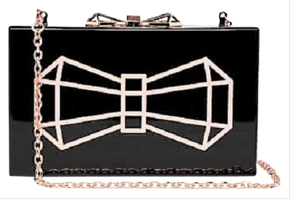 b97a232b11 Ted Baker Bow Rose Gold Box Black Clutch Image 0 ...