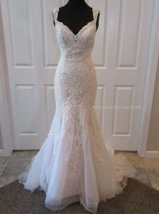 Allure Bridals Champagne Lace 9463 Feminine Wedding Dress Size 10 (M)