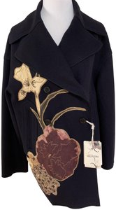Valentino Embroidered Beaded Wool Double Breasted Pea Coat