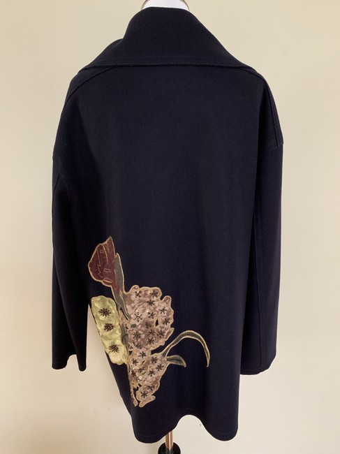 Valentino Embroidered Beaded Wool Double Breasted Pea Coat Image 3