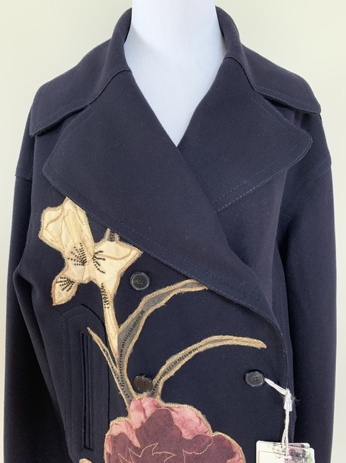 Valentino Embroidered Beaded Wool Double Breasted Pea Coat Image 5