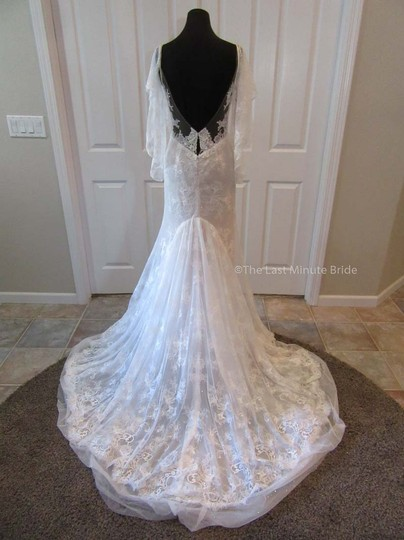 Hayley Paige Ivory/Nude/Cashmere Lace Frida Feminine Wedding Dress Size 4 (S) Image 3